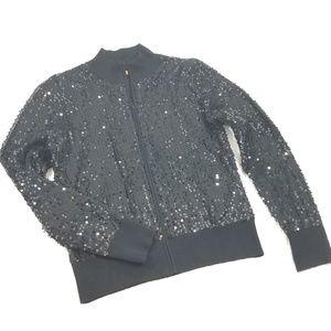 Belldini Sweater Cardigan Zip-Up Sequin Black sz M